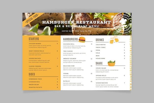 Modelo de menu de restaurante rústico com foto