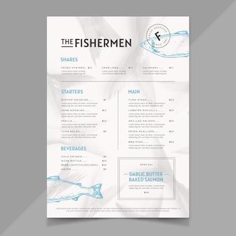 Modelo de menu de restaurante rústico desenhado à mão com foto