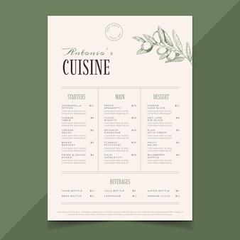 Modelo de menu de restaurante rústico desenhado à mão