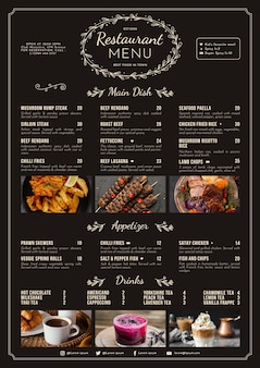 Modelo de menu de restaurante rústico plano orgânico com foto