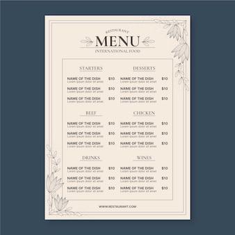 Modelo de menu de restaurante rústico plano orgânico