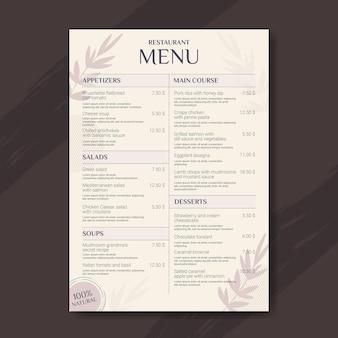 Modelo de menu de restaurante rústico plano