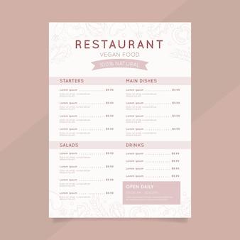 Modelo de menu de restaurante rústico