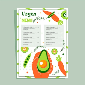 Modelo de menu de restaurante saudável vegan
