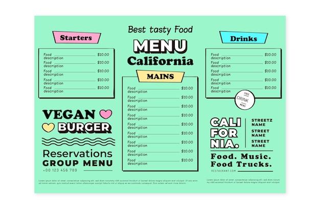 Modelo de menu de restaurante vegan