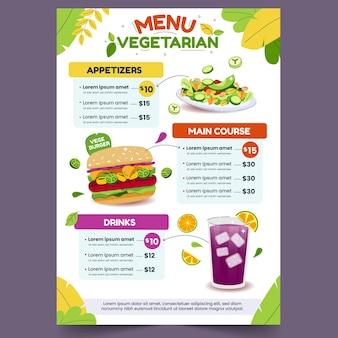 Modelo de menu de restaurante vegetariano desenhado à mão