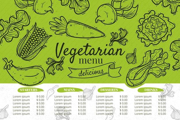 Modelo de menu de restaurante vegetariano