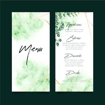 Modelo de menu de restaurante verde