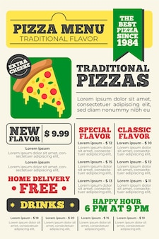 Modelo de menu de restaurante vertical digital de pizza