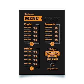 Modelo de menu de restaurante vertical digital preto e laranja