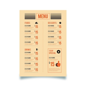 Modelo de menu de restaurante vertical digital vintage