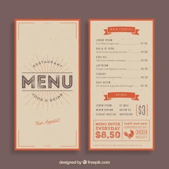 Modelo de menu de restaurante vintage