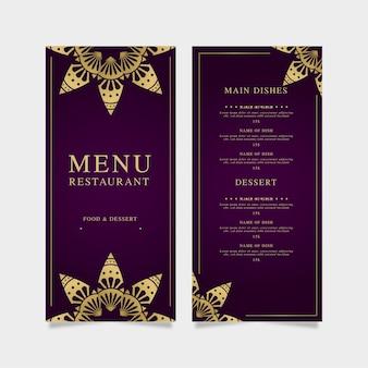 Modelo de menu de restaurante violeta com dourado