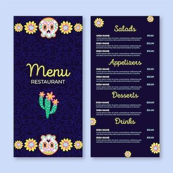 Modelo de menu de restaurante viva méxico