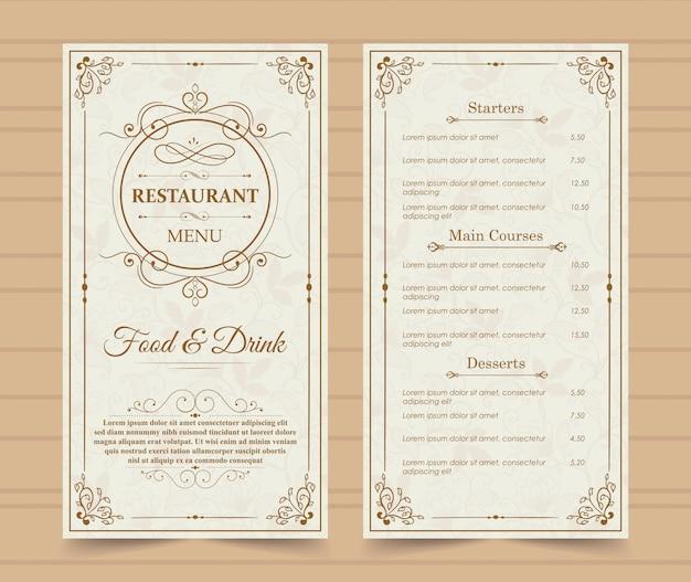 Modelo de menu de restaurante.