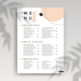 Modelo de menu de restaurante