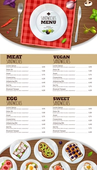Modelo de menu de sanduíches