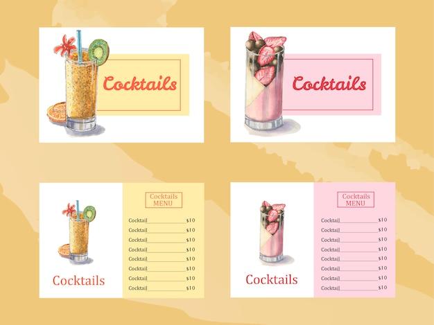 Modelo de menu de sobremesa com coquetel de verão aquarela