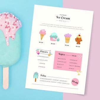 Modelo de menu de sorvete desenhado à mão