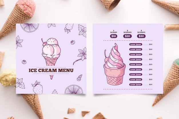 Modelo de menu de sorvete mão desenhada