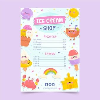 Modelo de menu de sorvete