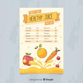 Modelo de menu de suco saudável