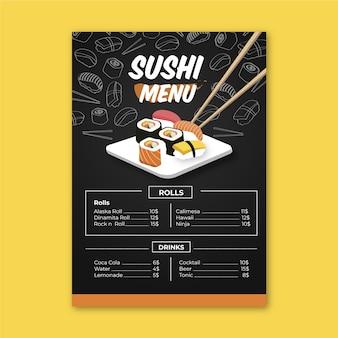 Modelo de menu de sushi com pauzinhos