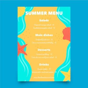 Modelo de menu de verão