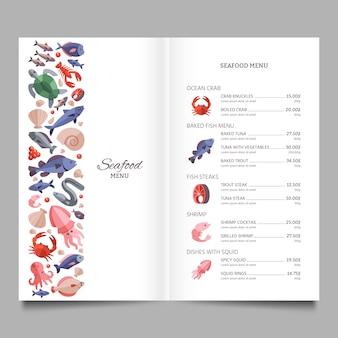 Modelo de menu de vetor de restaurante de frutos do mar com salmão de peixe e ilustração de polvo
