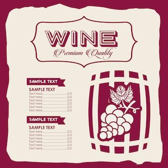 Modelo de menu de vinho