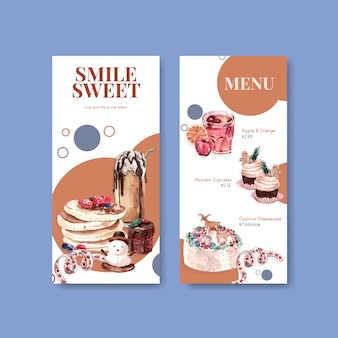 Modelo de menu definido com doces de inverno em estilo aquarela