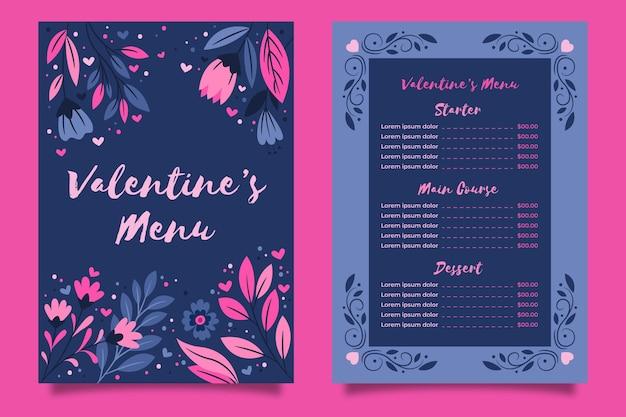 Modelo de menu desenhado à mão para o dia dos namorados