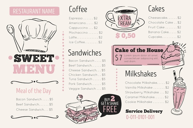 Modelo de menu digital de restaurante em formato horizontal