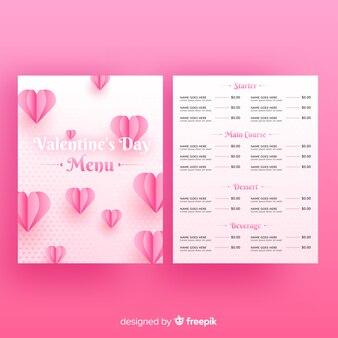 Modelo de menu do dia dos namorados em estilo realista