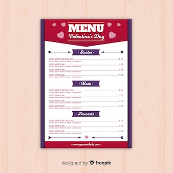 Modelo de menu do dia dos namorados