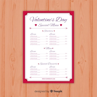 Modelo de menu do dia dos namorados