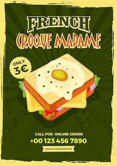Modelo de menu do estilo vintage croque madame