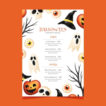 Modelo de menu do festival de halloween