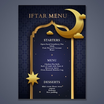 Modelo de menu do ramadã com lua