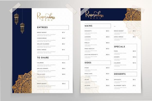 Modelo de menu do ramadã com mandala