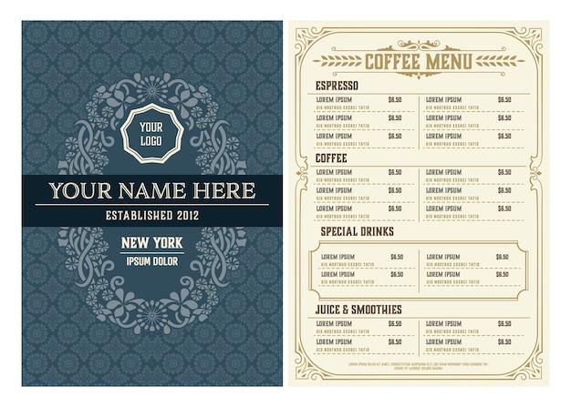 Modelo de menu do restaurante. estilo vintage. em camadas