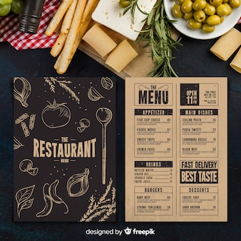 Modelo de menu do restaurante