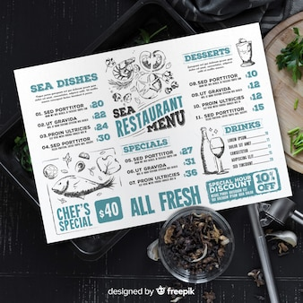Modelo de menu do restaurante