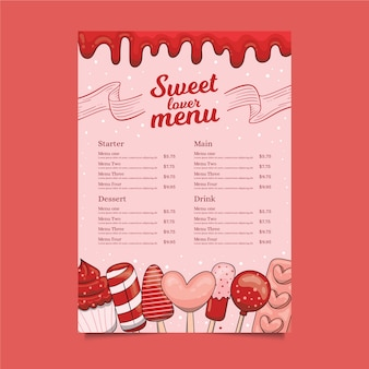 Modelo de menu doce amante
