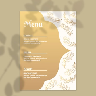 Modelo de menu dourado para casamento