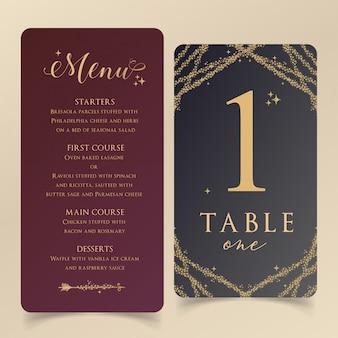 Modelo de menu editável com cartão de número de tabela