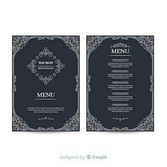 Modelo de menu elegante desenhada de mão