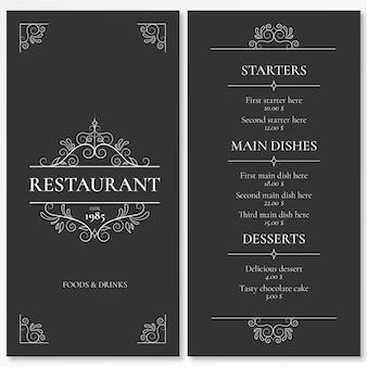 Modelo de menu elegante para restaurante com ornamentos