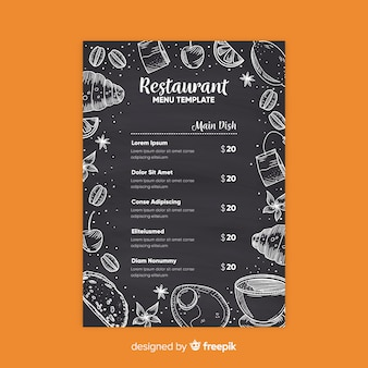 Modelo de menu elegante restaurante com estilo de lousa