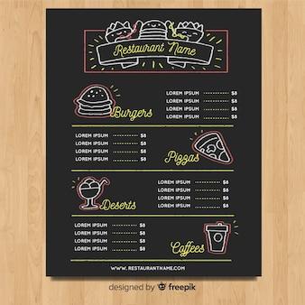 Modelo de menu elegante restaurante com estilo de quadro-negro